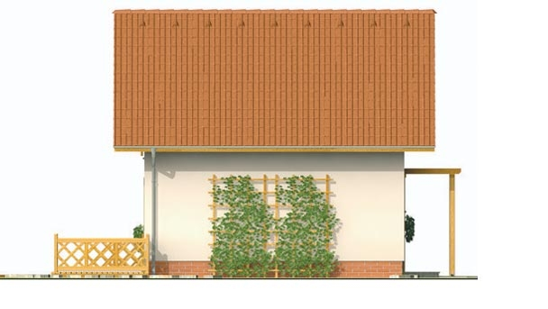 Pohľad 2. - Malý lacný poschodový projekt domu so sedlovou strechou