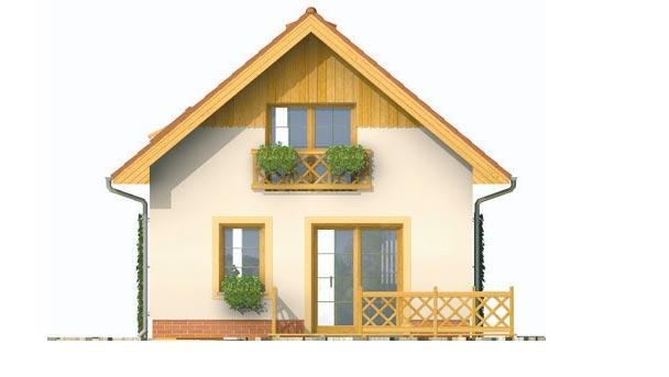 Pohľad 3. - Malý lacný poschodový projekt domu so sedlovou strechou