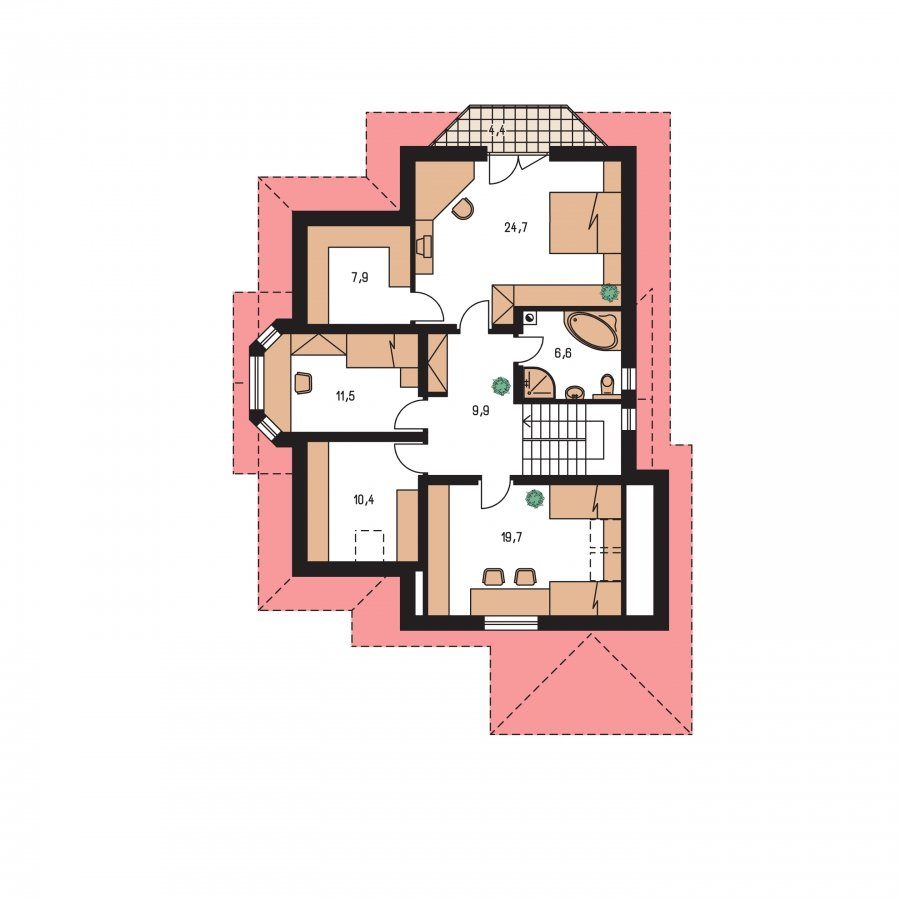 Pôdorys Poschodia - Rodinný dom s obytným podkrovím