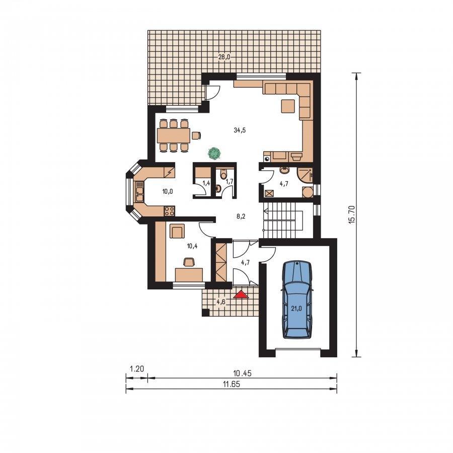 Pôdorys Prízemia - Rodinný dom s obytným podkrovím