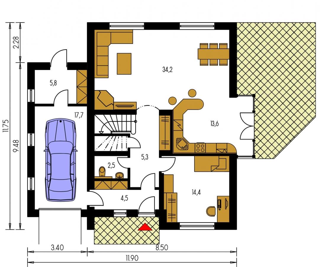 Pôdorys Prízemia - Dom s garážou a izbou na prízemí. Vhodný aj ako dvojdom.