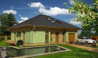 Dom v tvar do U, presvetlený strešnými oknami.