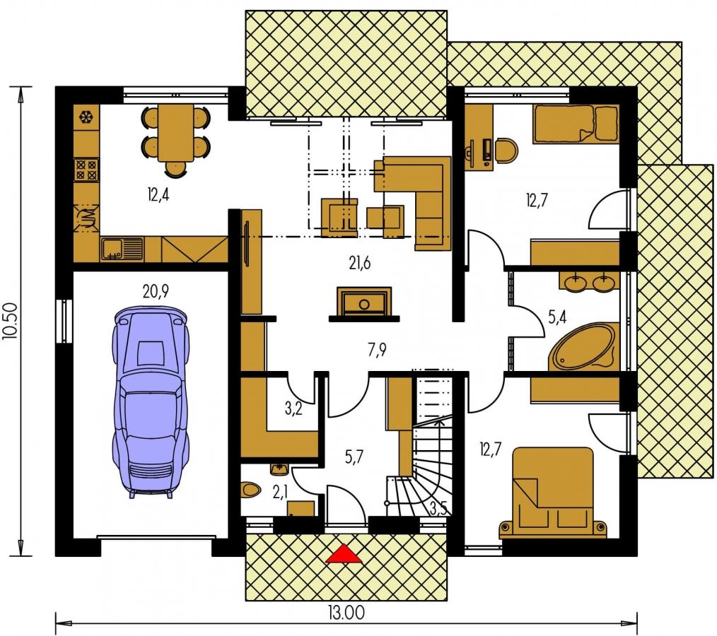 Pôdorys Prízemia - Dom v tvar do U, presvetlený strešnými oknami