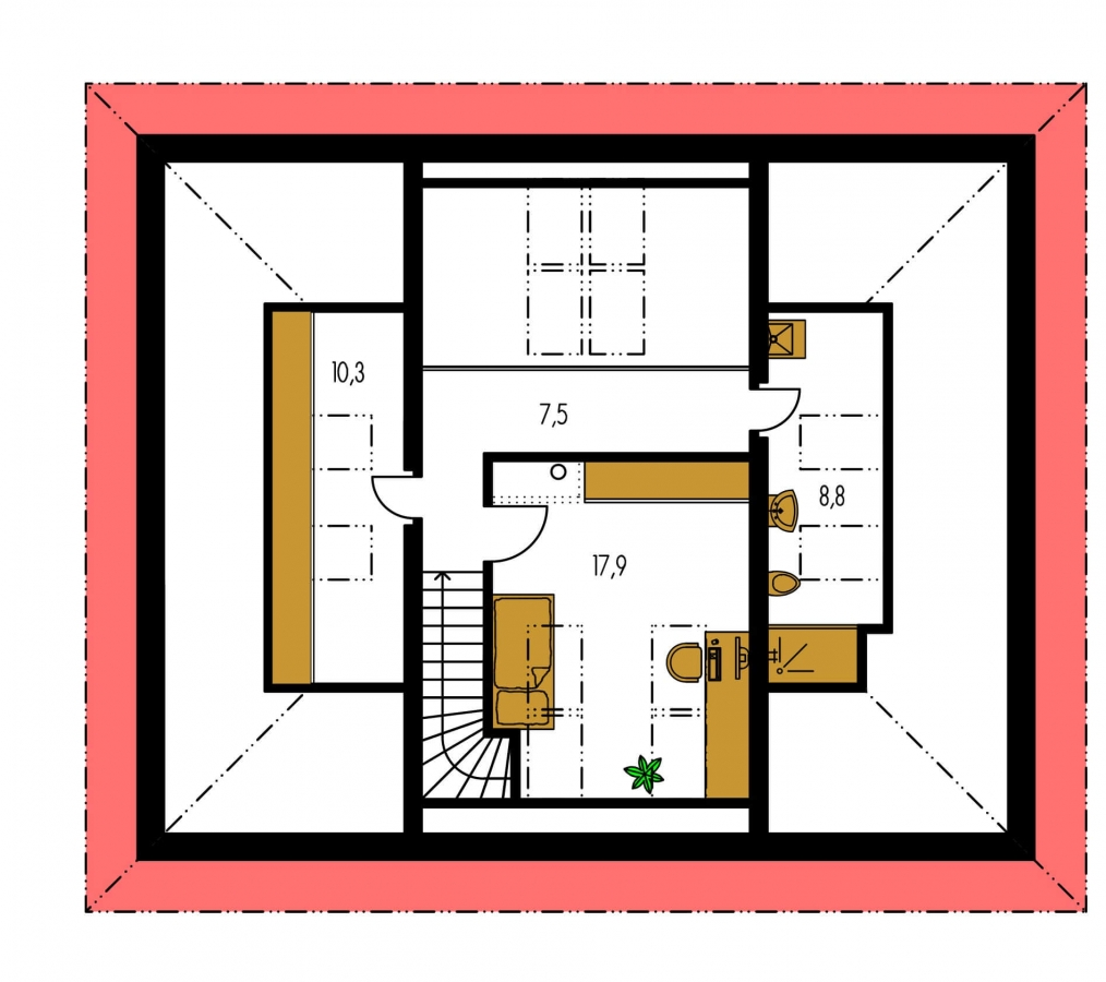 Pôdorys Poschodia - Dom v tvar do U, presvetlený strešnými oknami.