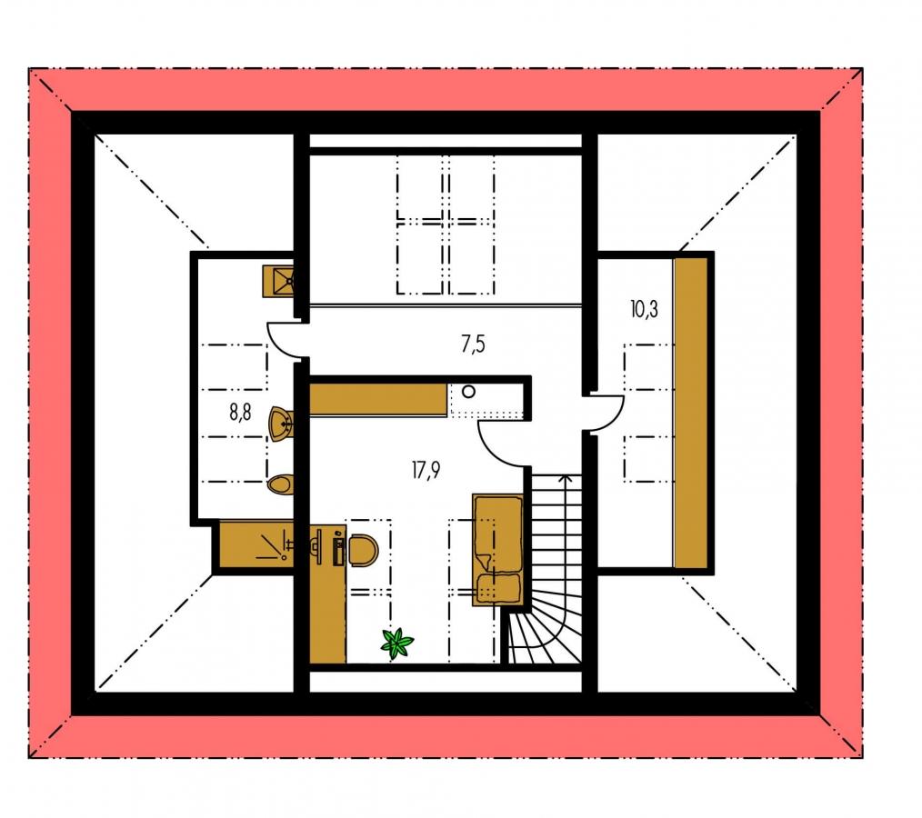 Pôdorys Poschodia - Dom v tvar do U, presvetlený strešnými oknami