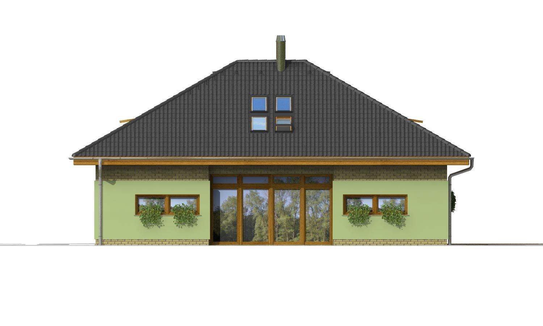Pohľad 3. - Dom v tvar do U, presvetlený strešnými oknami.
