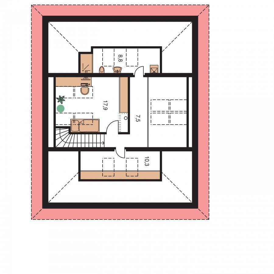 Pôdorys Poschodia - Dom presvetlený strešnými oknami