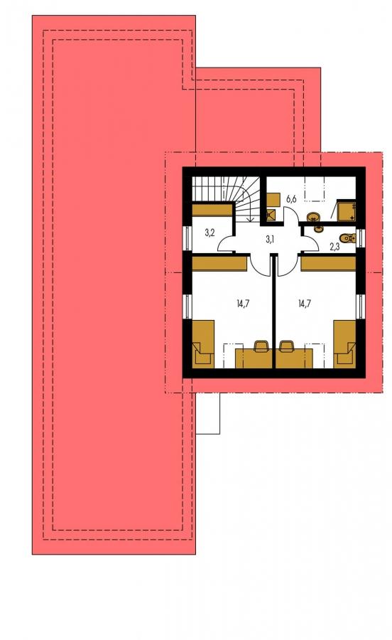 Pôdorys Poschodia - Súhra pultovej a sedlovej strechy. Možnosť zmeny vstupu do garáže.