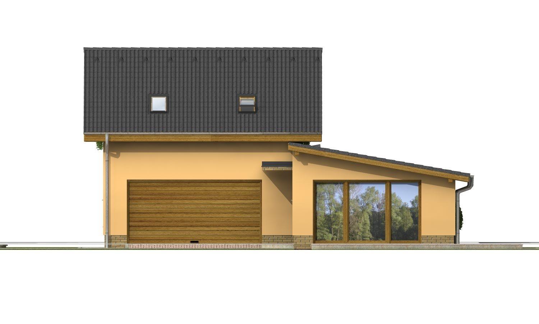 Pohľad 1. - Súhra pultovej a sedlovej strechy. Možnosť zmeny vstupu do garáže.