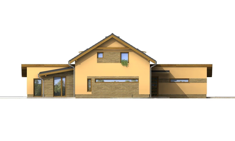 Pohľad 2. - Súhra pultovej a sedlovej strechy. Možnosť zmeny vstupu do garáže.