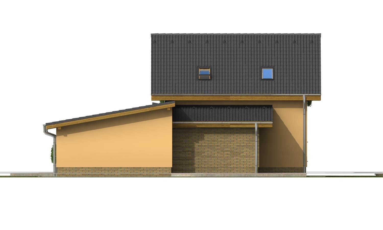Pohľad 3. - Súhra pultovej a sedlovej strechy. Možnosť zmeny vstupu do garáže.
