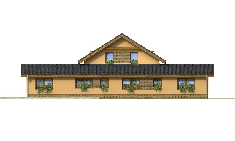 Pohľad 4. - Súhra pultovej a sedlovej strechy. Možnosť zmeny vstupu do garáže.