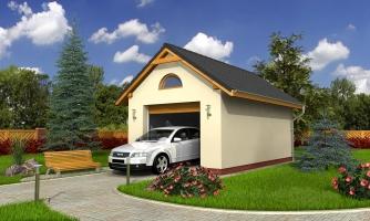 Samostatne stojaca garáž pre jedno auto so sedlovou strechou