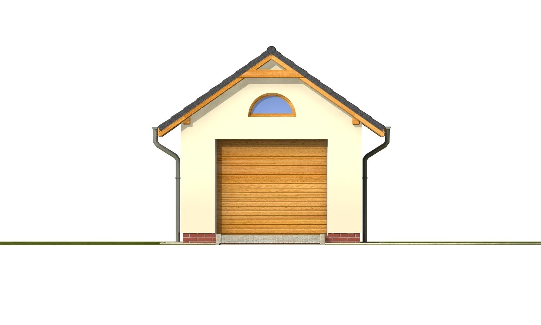 Pohľad 1. - Samostatne stojaca garáž pre jedno auto so sedlovou strechou