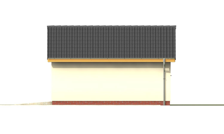 Pohľad 4. - Samostatne stojaca garáž pre jedno auto so sedlovou strechou