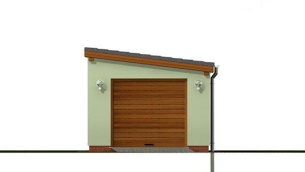 Pohľad 1. - Jednogaráž s pultovou strechou orientovanej do bočnej strany