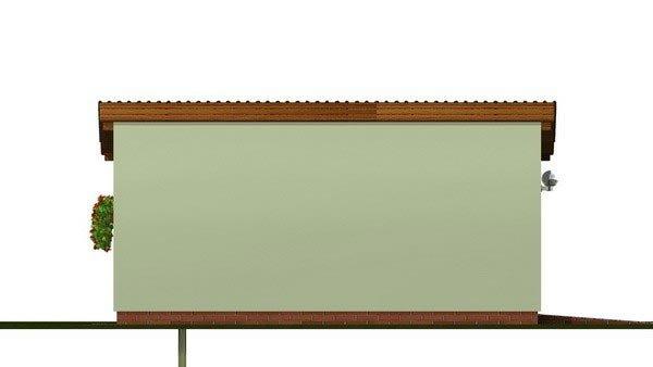 Pohľad 2. - Jednogaráž s pultovou strechou orientovanej do bočnej strany