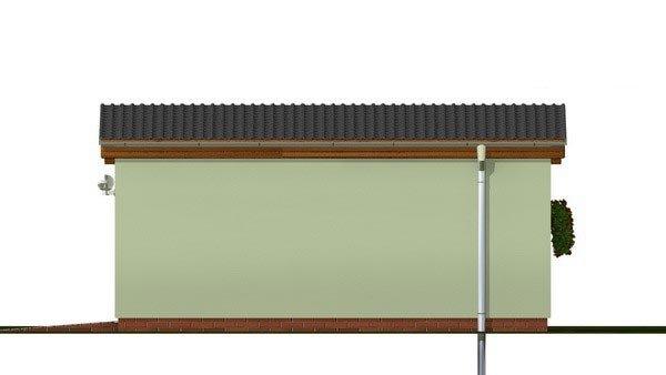 Pohľad 4. - Jednogaráž s pultovou strechou orientovanej do bočnej strany
