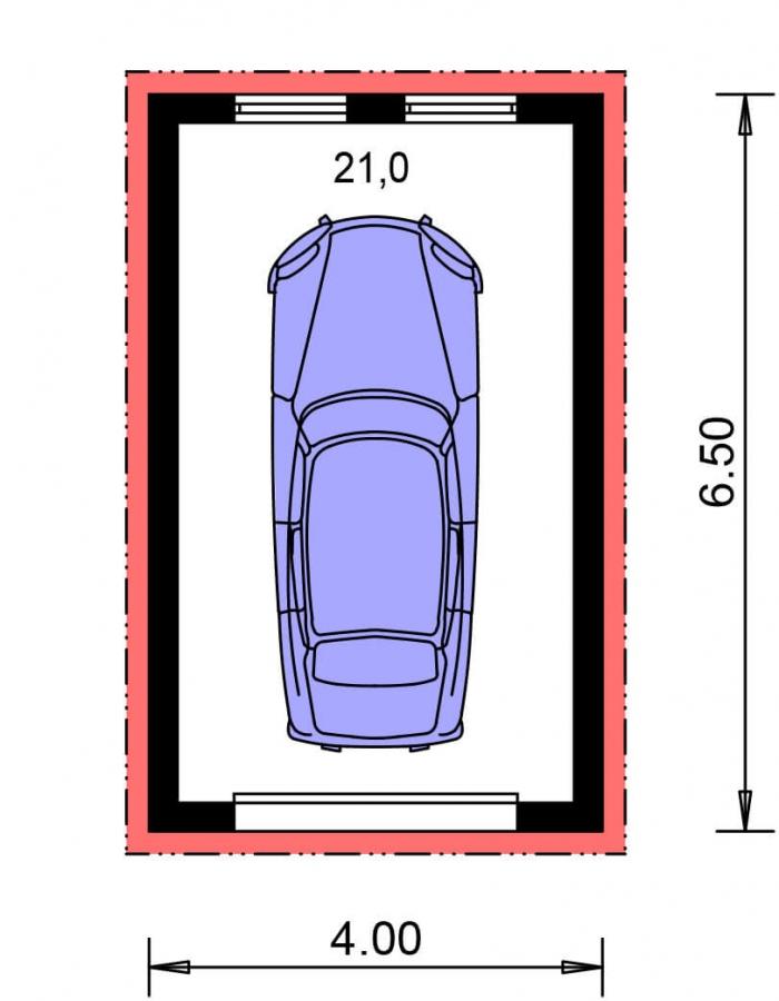 Pôdorys Prízemia - Jednogaráž s pultovou strechou orientovanej do bočnej strany