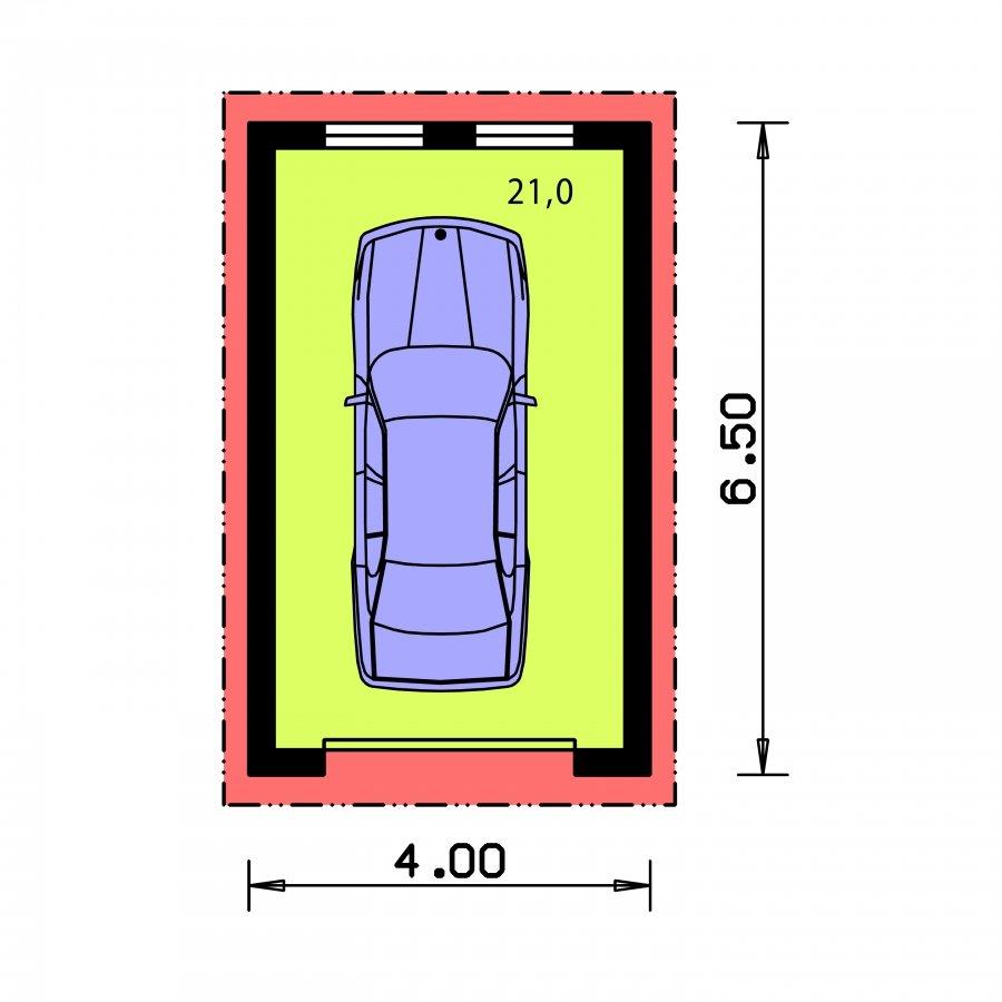 Pôdorys Prízemia - Jednogaráž so sedlovou strechou orientovanej do bočnej strany