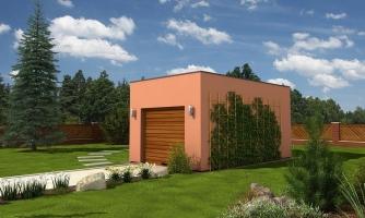 Projekt jednogaráže samostatne stojacej s plochou strechou