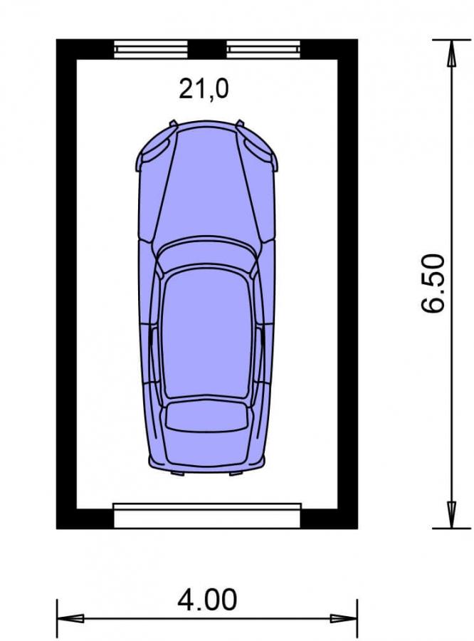 Pôdorys Prízemia - Projekt jednogaráže samostatne stojacej s plochou strechou