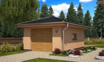 Projekt garáže s valbovou strechou, samostatne stojaca