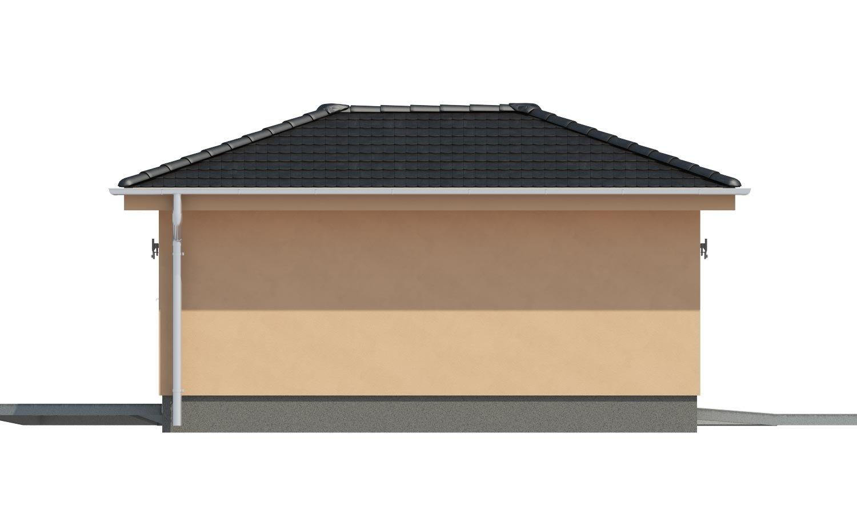 Pohľad 4. - Projekt garáže s valbovou strechou, samostatne stojaca