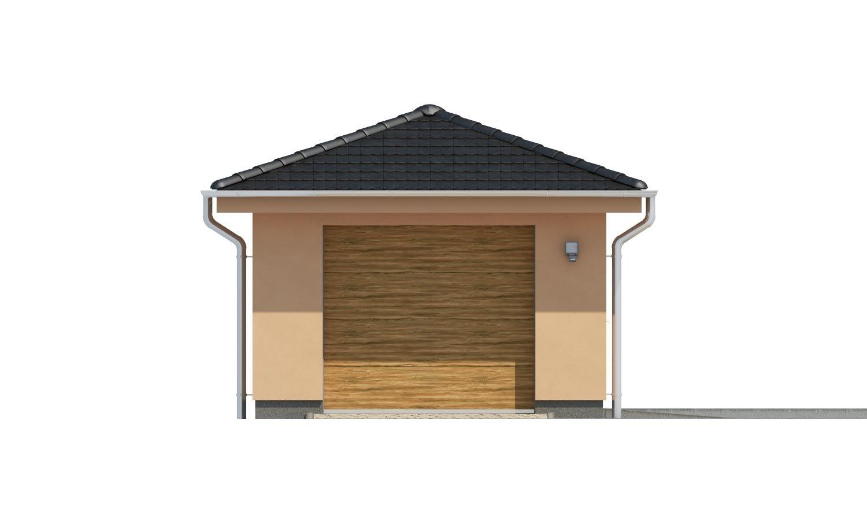 Pohľad 1. - Projekt garáže s valbovou strechou, samostatne stojaca