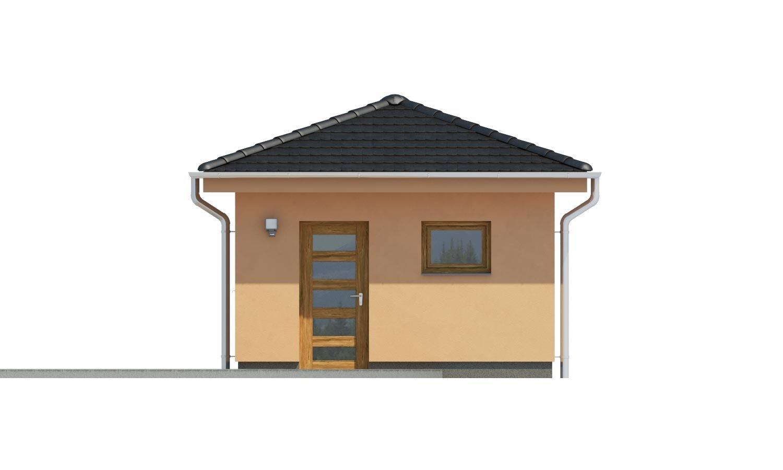 Pohľad 3. - Projekt garáže s valbovou strechou, samostatne stojaca