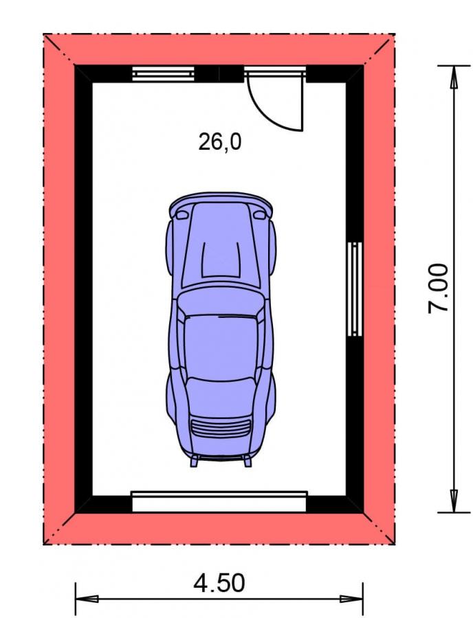Pôdorys Prízemia - Projekt garáže s valbovou strechou, samostatne stojaca