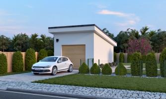 Projekt samostatne stojacej garáže s pultovou strechou