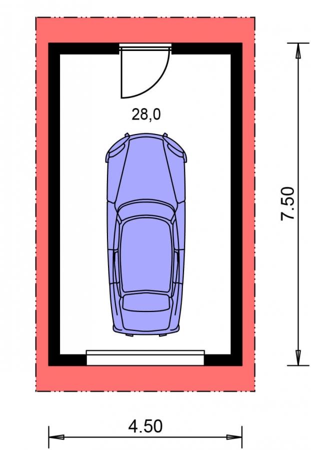 Pôdorys Prízemia - Projekt samostatne stojacej garáže s pultovou strechou