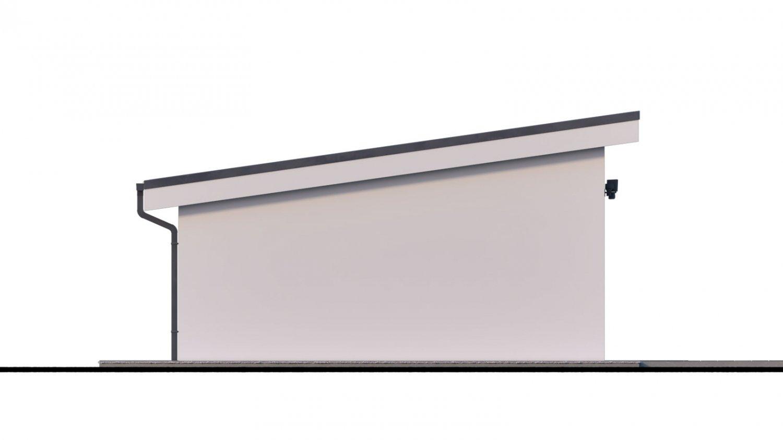 Pohľad 4. - Projekt samostatne stojacej garáže s pultovou strechou