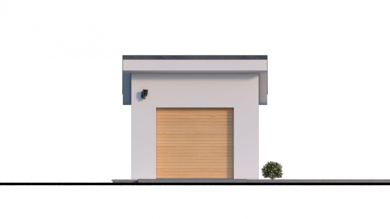 Pohľad 1. - Projekt samostatne stojacej garáže s pultovou strechou
