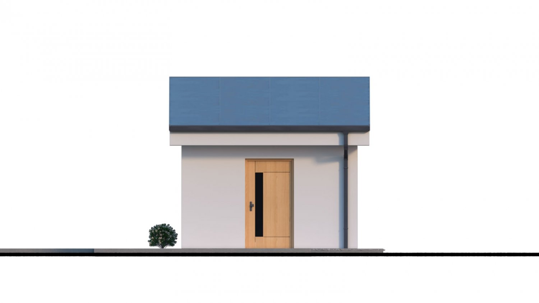 Pohľad 3. - Projekt samostatne stojacej garáže s pultovou strechou