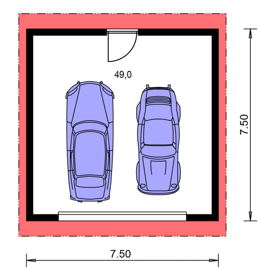 Pôdorys Prízemia - Dvojgaráž s pultovou strechou, samostatne stojaca