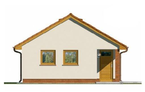 Pohľad 2. - Projekt jednogaráže so záhradným skladom a sedlovou strechou