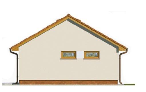 Pohľad 4. - Projekt jednogaráže so záhradným skladom a sedlovou strechou