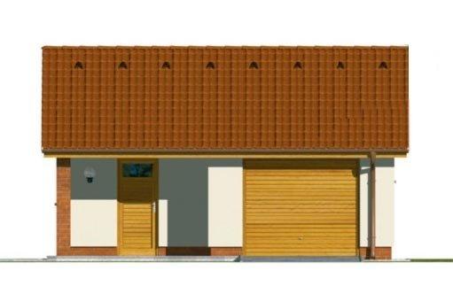 Pohľad 1. - Projekt jednogaráže so záhradným skladom a sedlovou strechou