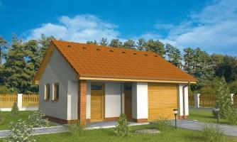 Projekt jednogaráže so záhradným skladom a pultovou strechou