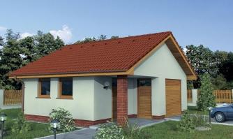 Garáž  s veľkým záhradným skladom alebo dielňou so sedlovou strechou