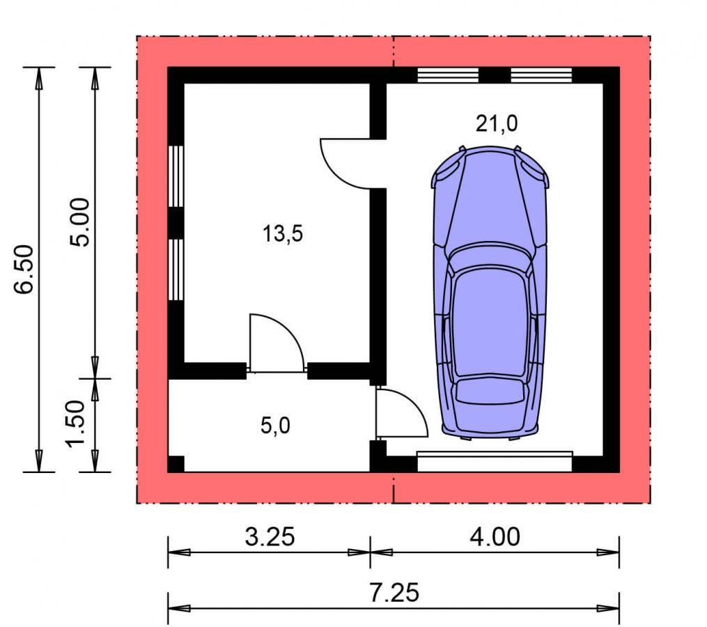 Pôdorys Prízemia - Garáž  s veľkým záhradným skladom alebo dielňou so sedlovou strechou