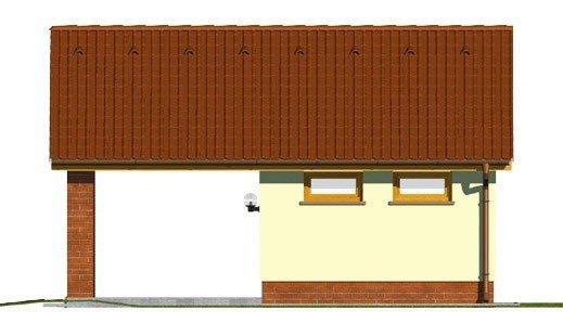 Pohľad 3. - Projekt garáže s prístreškom a sedlovou strechou