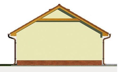 Pohľad 2. - Projekt garáže s prístreškom a sedlovou strechou