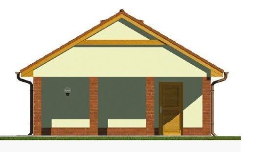 Pohľad 4. - Projekt garáže s prístreškom a sedlovou strechou