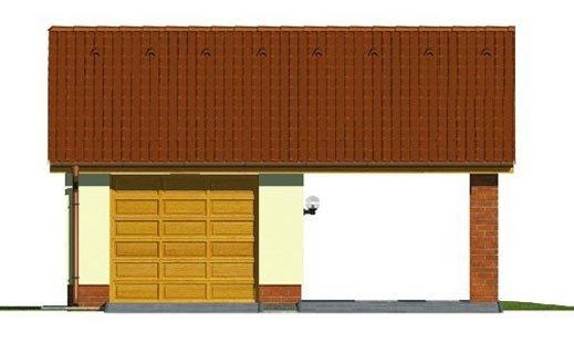 Pohľad 1. - Projekt garáže s prístreškom a sedlovou strechou