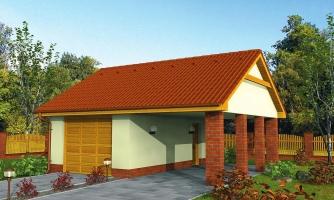 Projekt garáže s prístreškom a sedlovou strechou