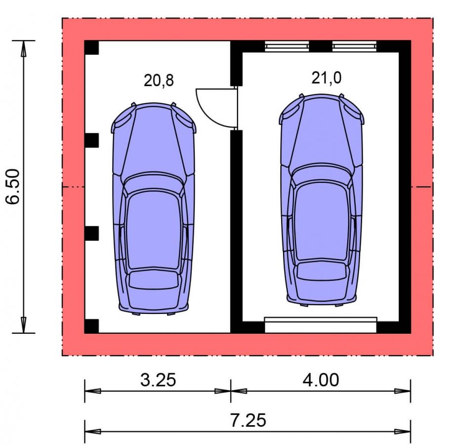 Pôdorys Prízemia - Projekt garáže s prístreškom a sedlovou strechou