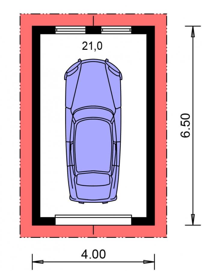 Pôdorys Prízemia - Samostatne stojaca garáž pre jedno auto so sedlovou strechou